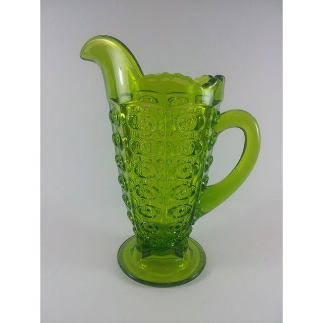 Mid-Century Modern Viking Green Art Glass Bullseye Pitcher For Sale - Image 3 of 6