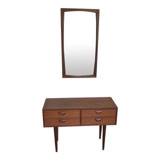 Danish Teak Entry Chest & Mirror - A Pair For Sale