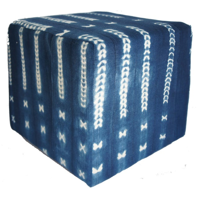 Vintage African Indigo Mudcloth Cube Ottoman For Sale