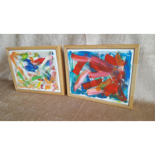 Abstract A Pair- Original Abstract Acrylic Paintings in Cubed Wooden Frames For Sale - Image 3 of 13