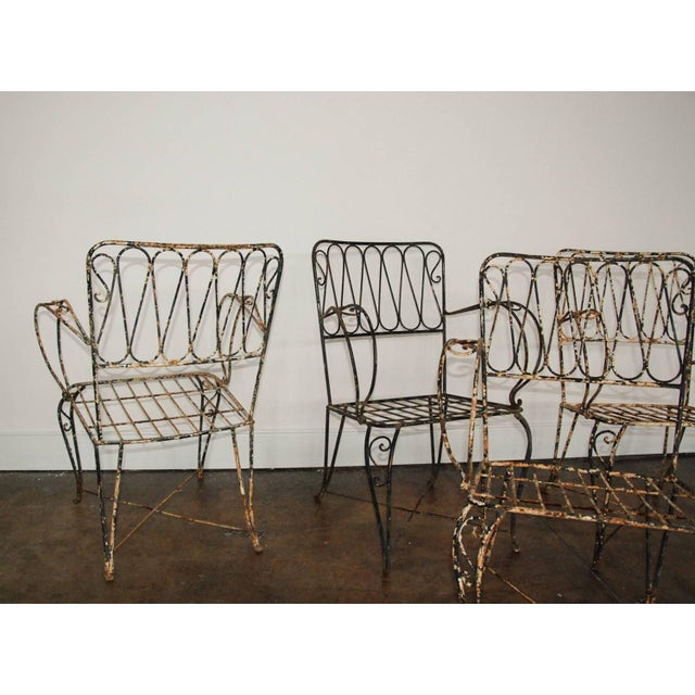French Forged Armchairs Style of Raymond Subes, 1940 - Set of 4 For Sale - Image 4 of 5
