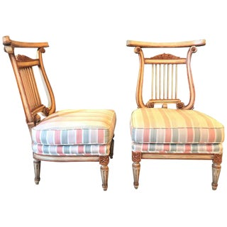 Hollywood Regency Low French Lyre Back Side Chairs in Manner of Jansen - A Pair For Sale