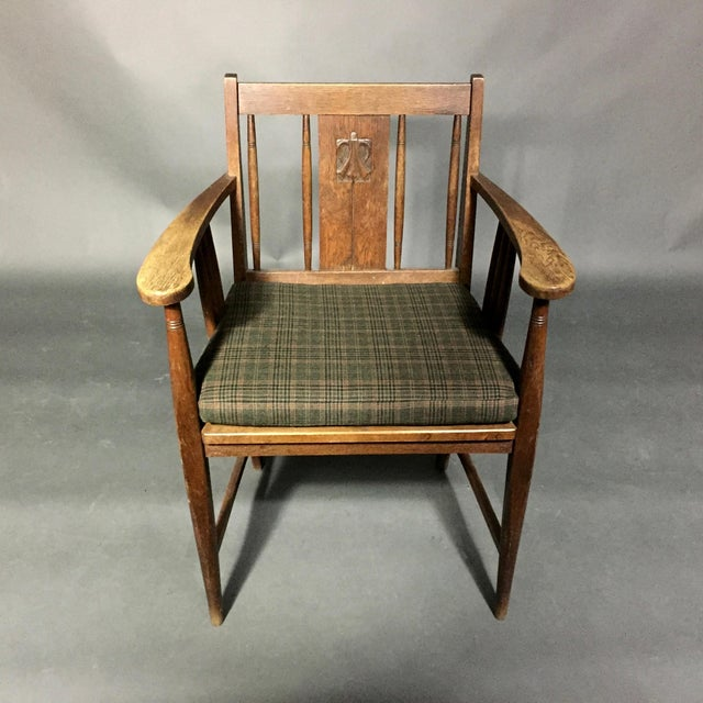 Brown Art Nouveau Carved Oak Side Chair, Germany 1910, Pair Available For Sale - Image 8 of 11