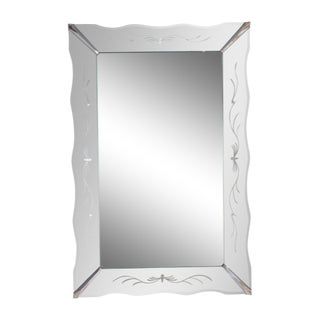 Vintage American Art Deco Wall Mirror Picture Frame Style With Etched Detail and Chrome Hardware For Sale