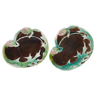 Antique French Art Nouveau Majolica Plates - a Pair For Sale