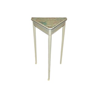 Antique Decoupaged Beachy Three Corner Table For Sale