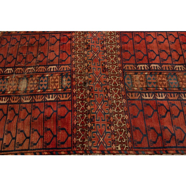 """Distressed Antique Turkaman Rug, 4'2"""" X 5' For Sale In New York - Image 6 of 8"""