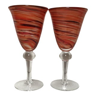 Vintage Murano Glass Wine Goblets - a Pair For Sale