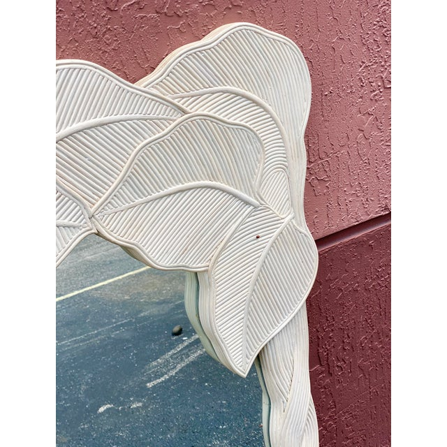 Vintage Boho Chic Pencil Reed Wrapped Leaves Mirror For Sale - Image 4 of 11