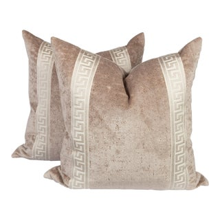 Champagne Velvet Greek Key Pillows, a Pair For Sale