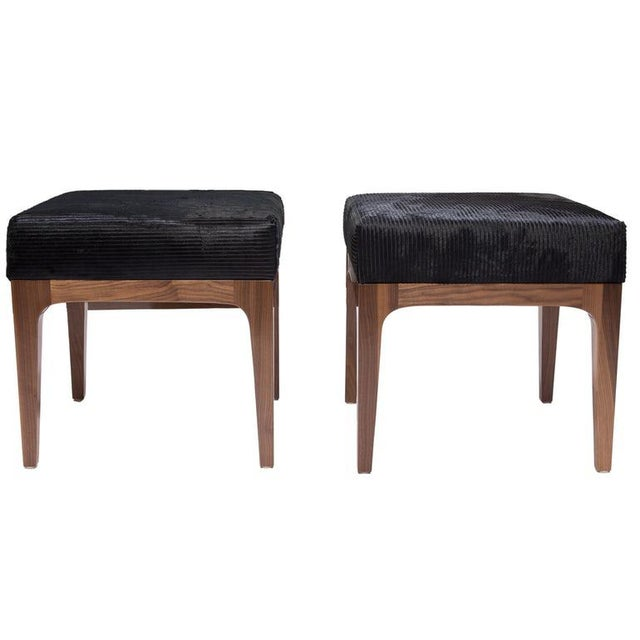 2010s The Raphael Ottoman in Walnut & Cowhide Seat Cushion For Sale - Image 5 of 5