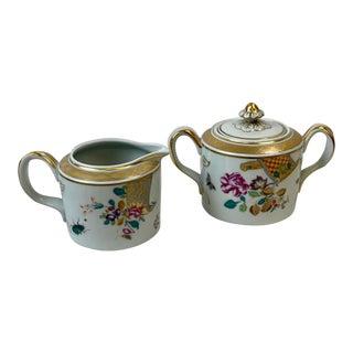 Vista Alegre for Mottahedeh Lowestoft Rose Sugar Bowl & Creamer - 2 Piece Set For Sale