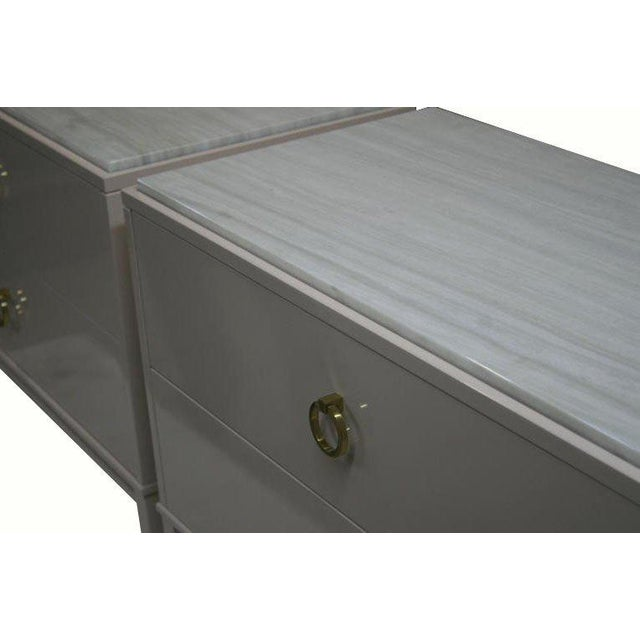 Modern Customizable Lacquered Marble-Top Night Table For Sale - Image 3 of 6