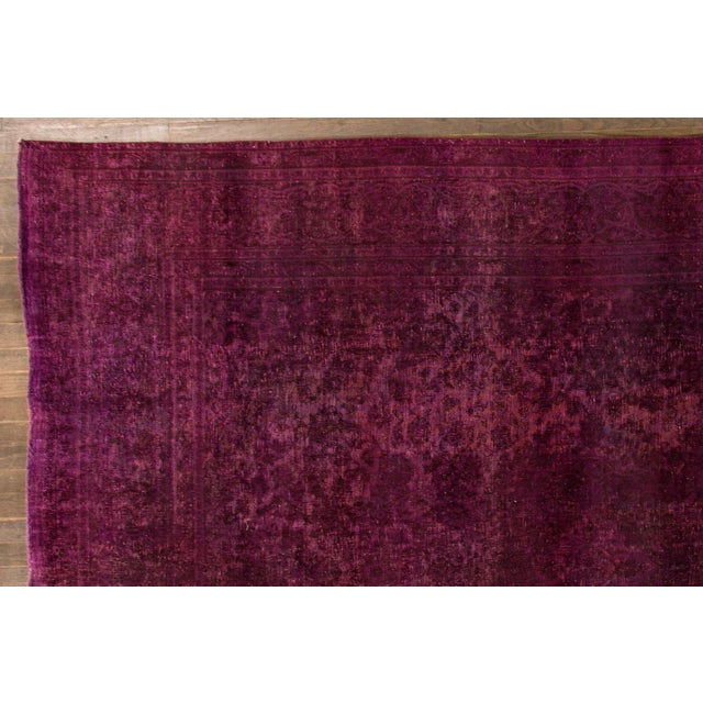 Mid 20th Century Vintage Overdyed Wool Rug For Sale - Image 4 of 6