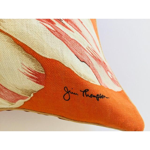 Mid 20th Century Mid Century Jim Thompson Orange Designer Decorative Pillow With Lotus Flower Print For Sale - Image 5 of 10