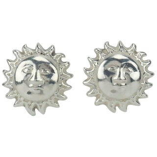 Vintage Mexican Sterling Silver Sun Earrings For Sale