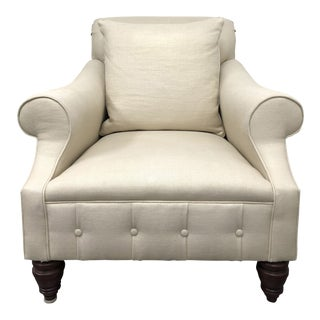American Classical Ralph Lauren Rolled Arm Tufted Ivory Arm Chair For Sale