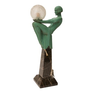 """Art Deco Figural-Female Sculpture Table Lamp Titled """"Engime"""" by Max Le Verrier For Sale"""
