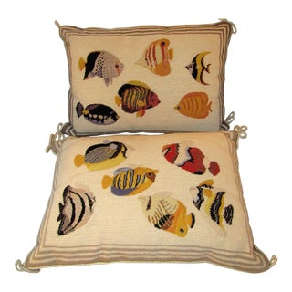 Imperial Elegance Fish Needlepoint Pillows - A Pair For Sale