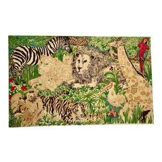 Vintage Suzie Zuzek Jungle Animals Screen Print Tapestry For Sale
