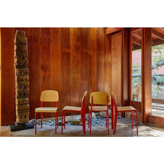 Mid-Century Modern Late 20th Century Wood and Metal Chairs in the Style of Jean Prouvé- Set of 4 For Sale - Image 3 of 13