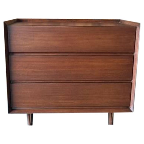 Architectural Modern Refinished Walnut Dresser by Morris For Sale