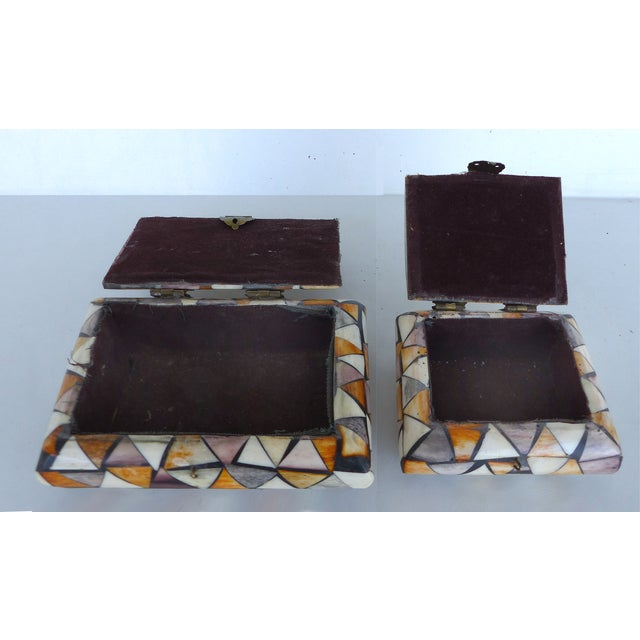Inlaid Over-Dyed Bone Boxes - A Pair - Image 6 of 10