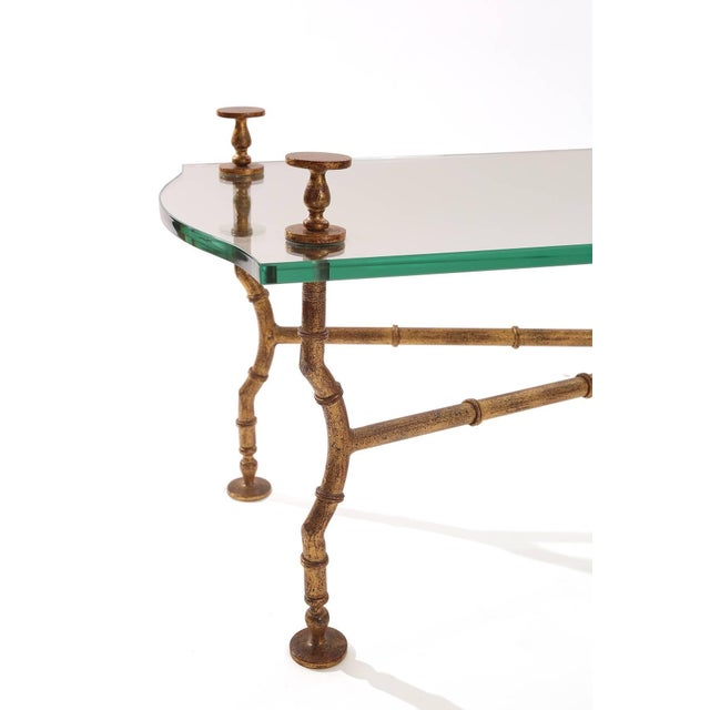 Mid-Century Modern Gold Leafed Steel and Glass Sculptural Cocktail Table For Sale - Image 3 of 5