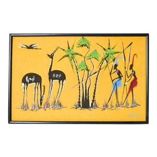 Mid-Century Modern Tribal Gazelle Hunt Painting For Sale