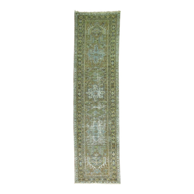 Persian Shabby Chic Heriz Runner - 2'9'' x 10'8'' For Sale