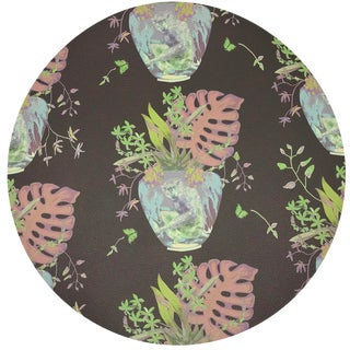"""Nicolette Mayer Monkey Small Jungle Chocolatte Lime 16"""" Round Pebble Placemats, Set of 4 For Sale"""