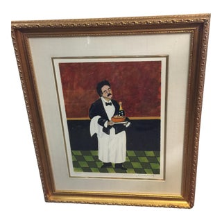 Guy Buffet Waiter Lithograph With Champagne Limited Edition Signed For Sale