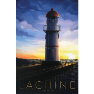 2020 Contemporary Montreal Poster - Lachine (Lighthouse), Framed For Sale