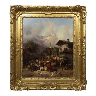 """""""An Alpine Village"""" Antique Landscape Painting by Joseph Heinrich Marr (German, 1807-1871) For Sale"""