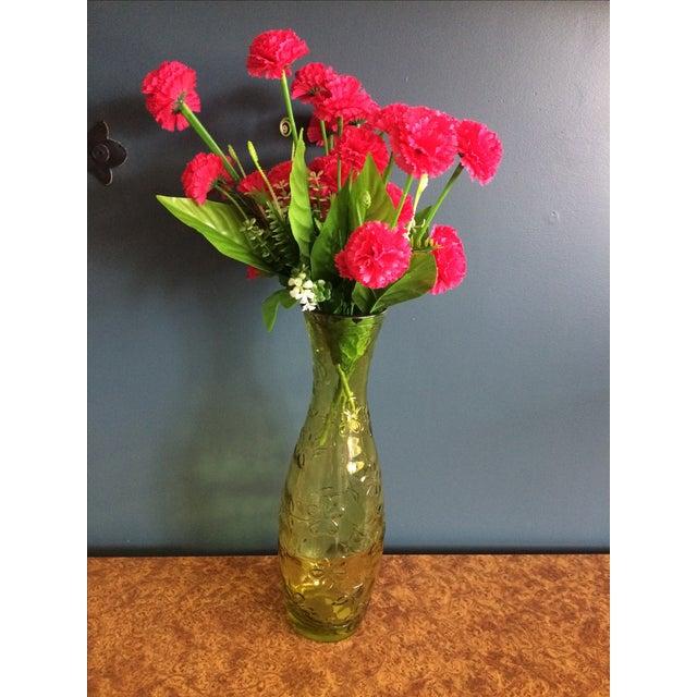 Green Glass Flower Vase - Image 9 of 10