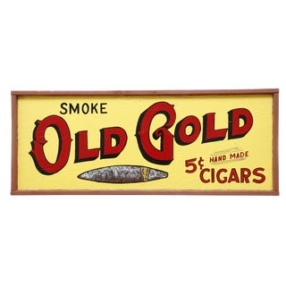 Old Gold Cigars Wooden Sign For Sale