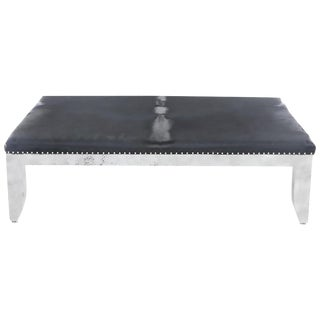 Custom Designed Distressed Silver Lacquer Raffia and Hair on Hide Coffee Table For Sale
