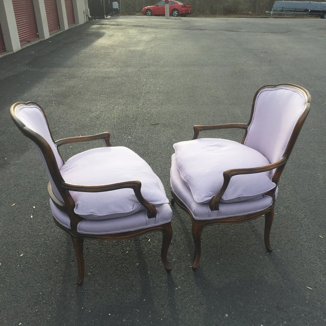 Vintage French Louis XVI Fauteuil Bergere Chairs - A Pair For Sale In Baltimore - Image 6 of 9