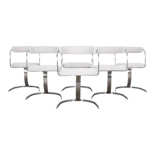 Mid-Century Modern Chrome Upholstered Chairs - Set of Six For Sale
