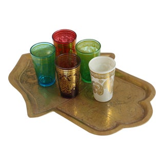 Moroccan Tea Glass Set With Hammered Brass Hamsa Tray - 6 Pc. Set For Sale