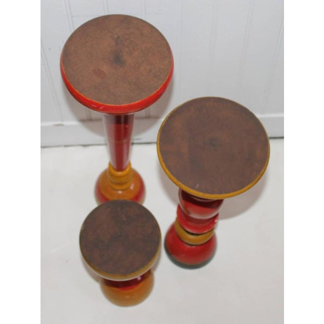 Wood Collection of Three Polychrome Original Painted Candleholders For Sale - Image 7 of 10
