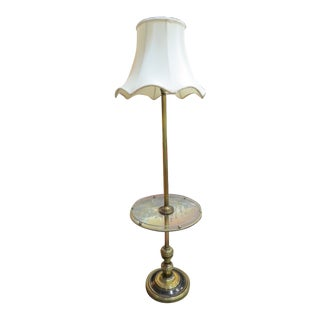 Vintage Mid-Century Modern Brass Tone Metal Lamp Table Circa 1960 For Sale