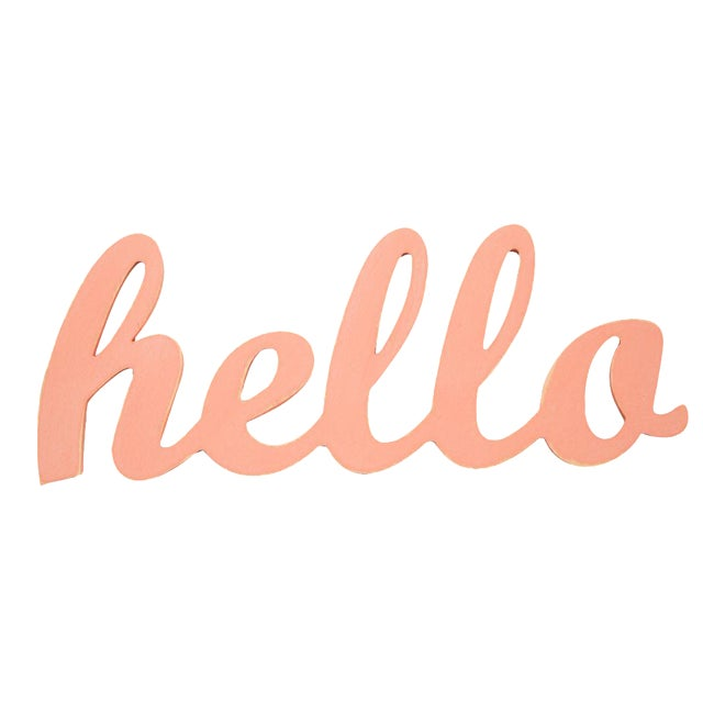 Contemporary Coral Hello Sign - Image 1 of 3