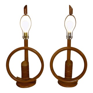 1960s Bentwood Bamboo Rattan Tiki Lamps - a Pair For Sale