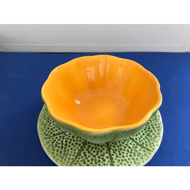 Ceramic 1970s Vintage Knobler Cantaloupe Bowls With Plates - Set of 4, 8 Pieces For Sale - Image 7 of 13