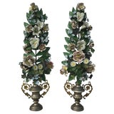 Image of Pair of French Tole Topiaries For Sale