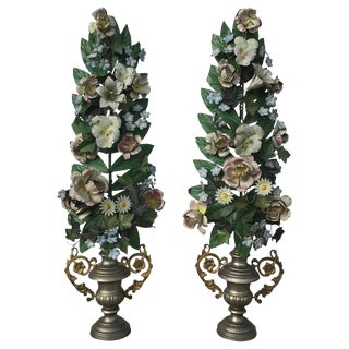 Pair of French Tole Topiaries For Sale