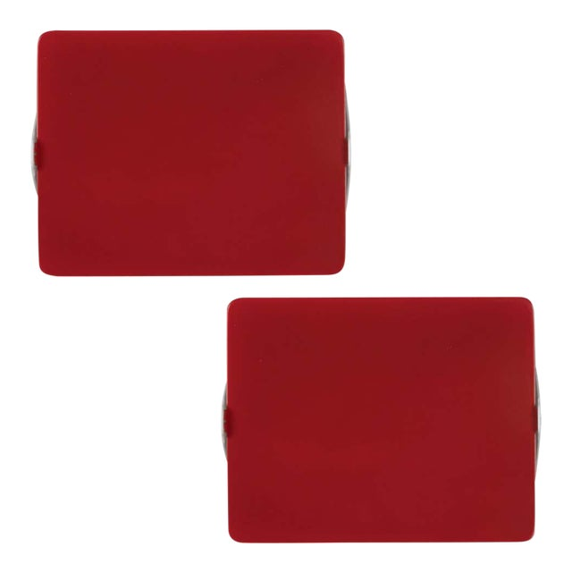 Charlotte Perriand Red 'Applique á Volet Pivotant' Wall Lights - a Pair For Sale