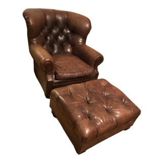Ralph Lauren Home Leather Writer's Chair & Ottoman Set- 2 Pieces For Sale