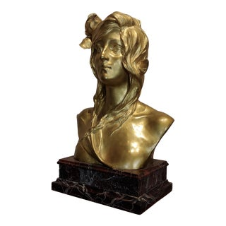 Maurice Bouval - Ophelia -Beautiful Art Nouveau Bronze Bust-C.1900 For Sale